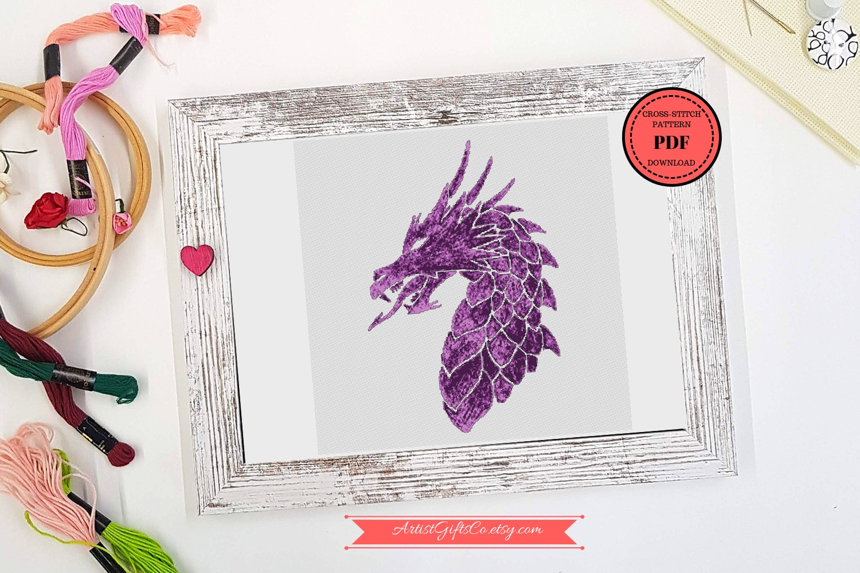 Small Great Purple dragon, Cross stitch pattern PDF example image 1