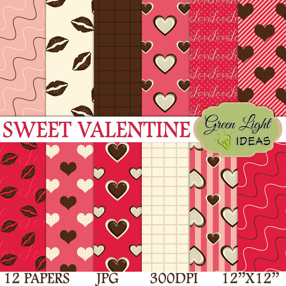 Sweet Valentine Digital Papers, Valentine's Day Backgrounds, Love Scrapbook Papers  example image 1