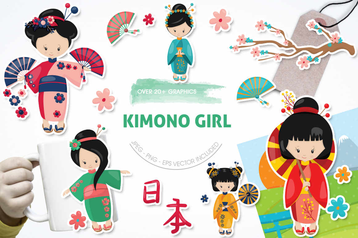 Kimono Girl graphic and illustrations example image 1