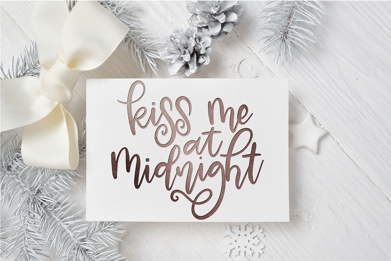 New Year SVG - Kiss Me at Midnight Hand-Lettered Cut File example image 1