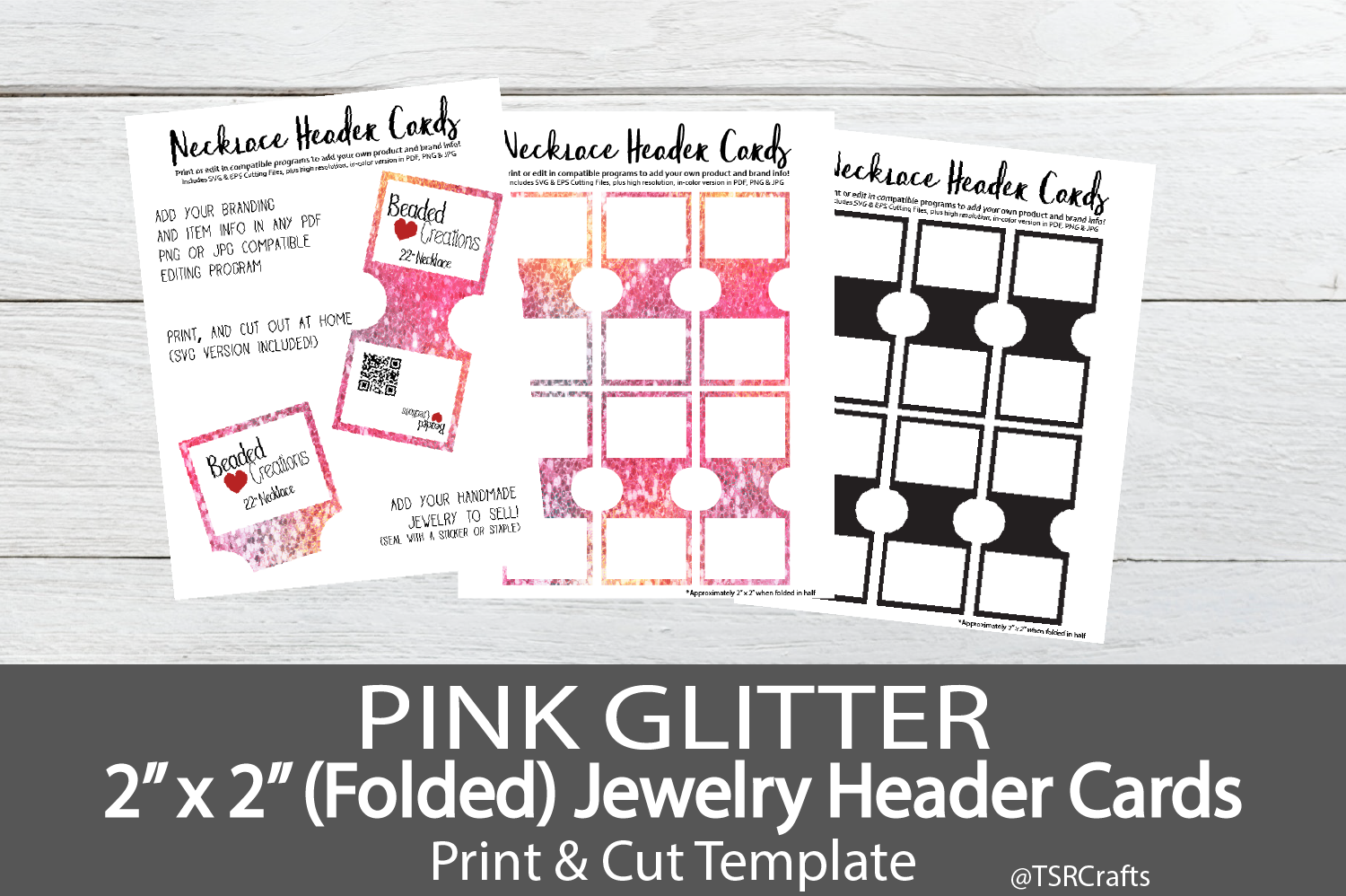 Jewelry Header Cards for Necklace -Pink Glitter example image 1