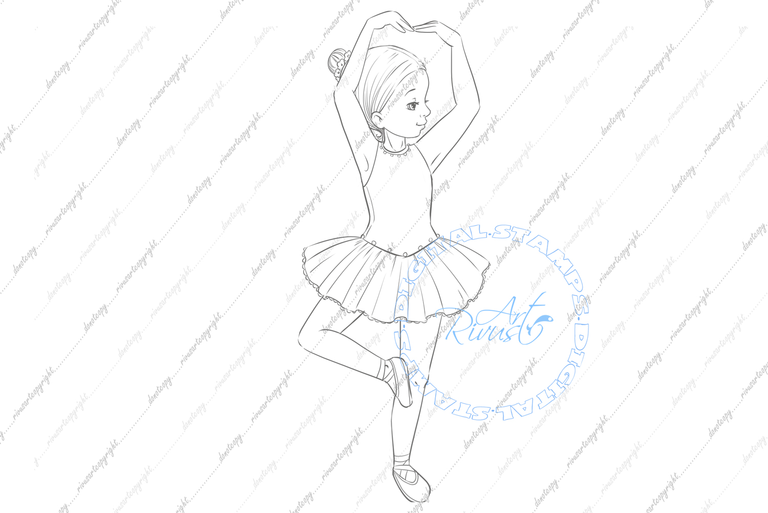 Ballet Digital Stamp. Cute ballerina coloring page Download. example image 3