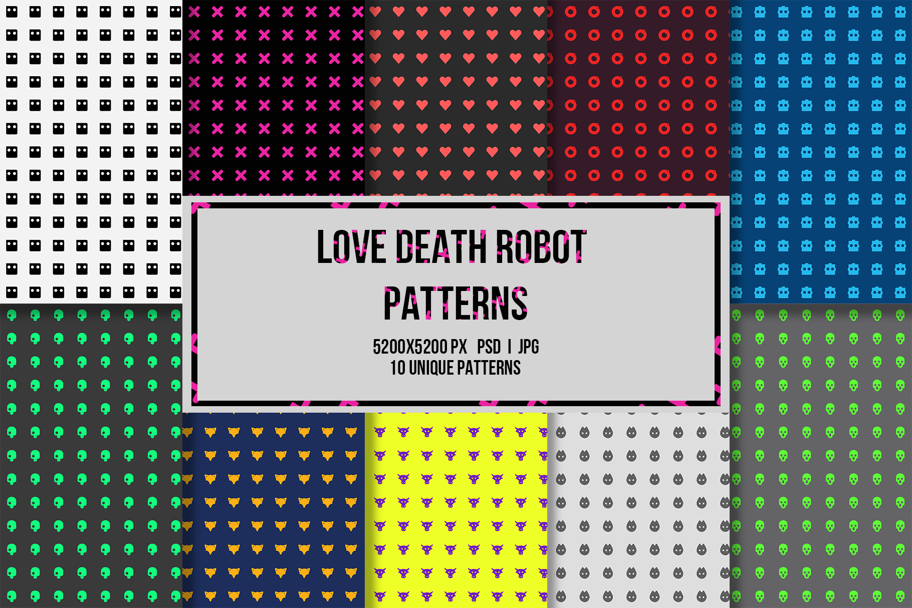 10 Love Death Robot Patterns example image 1