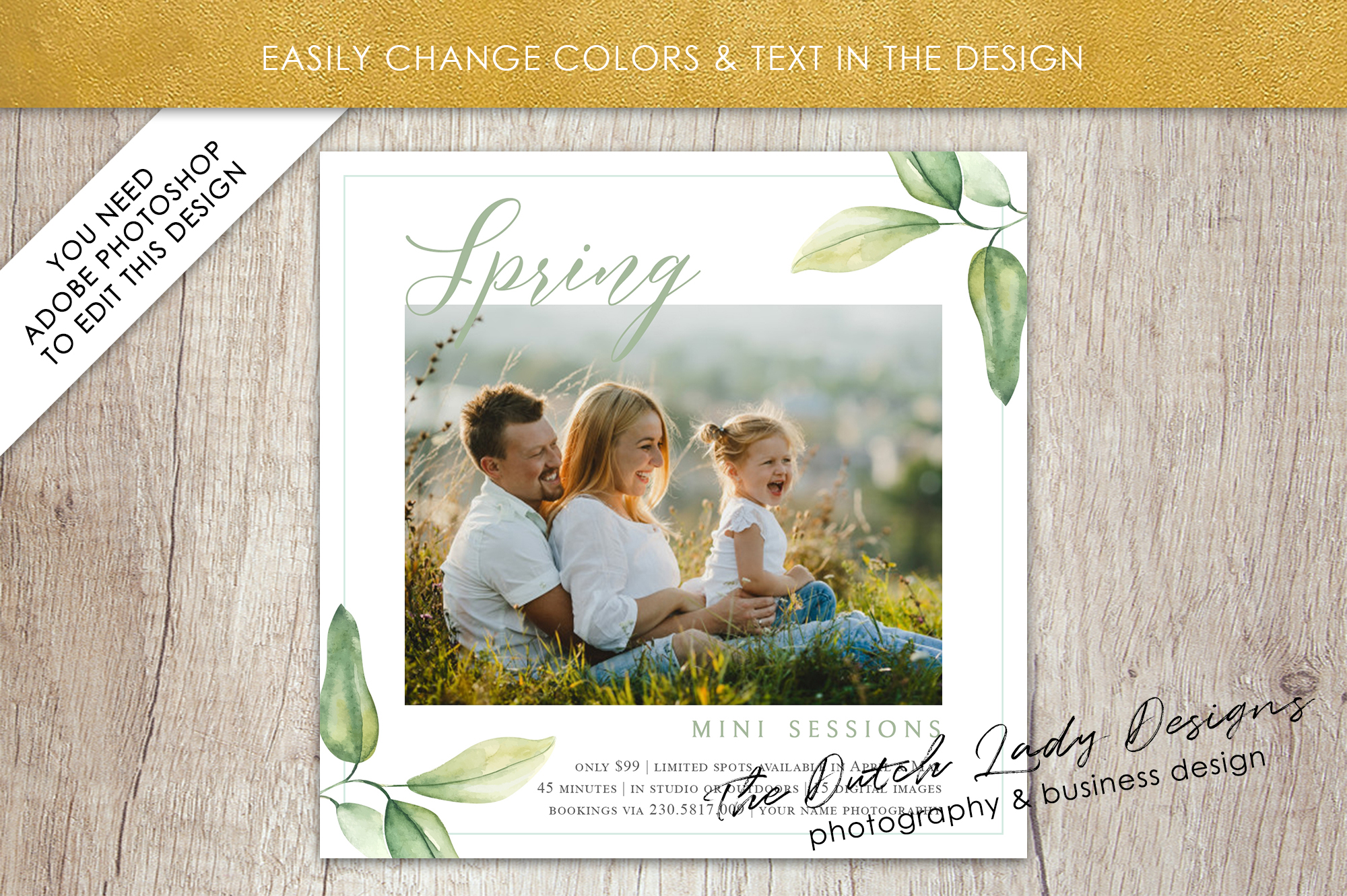 PSD Spring Photo Session Card Template - Design #35 example image 4