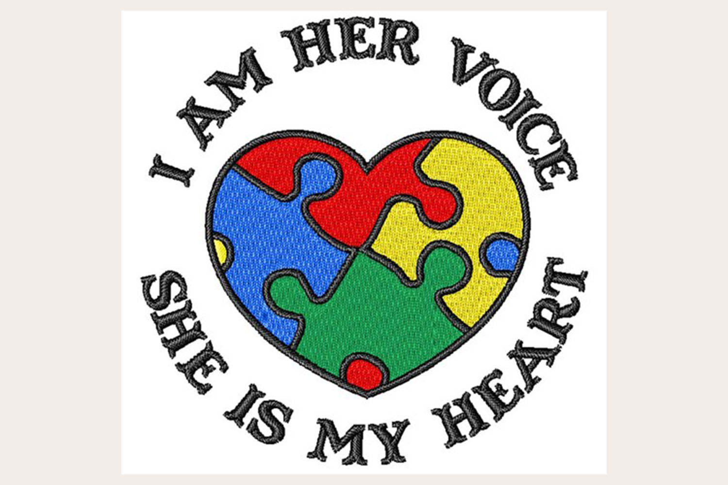 Autism I Am Her Voice - Machine Embroidery Design example image 1