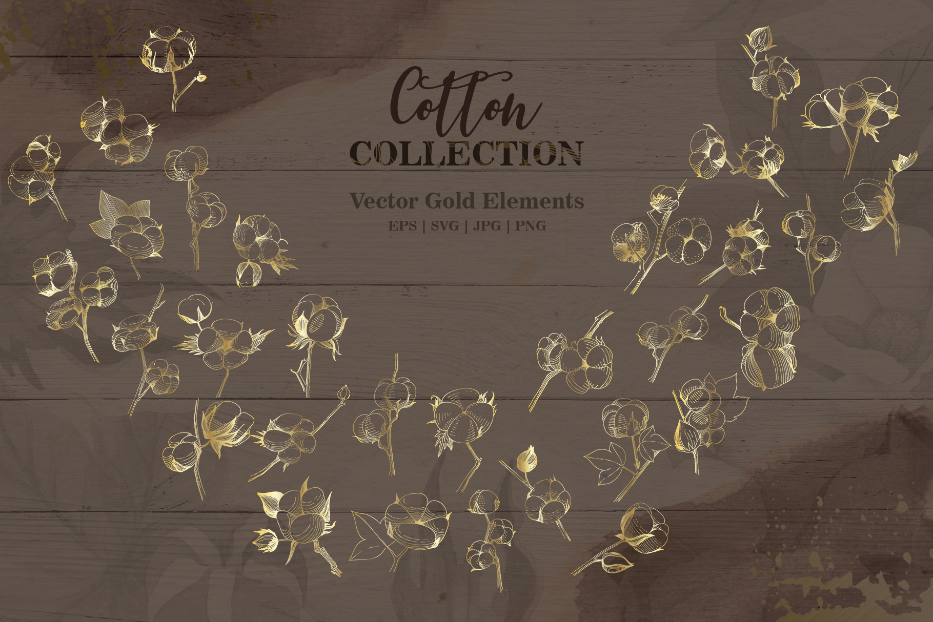 Cotton collection EPS, PNG, JPG, SVG set example image 6