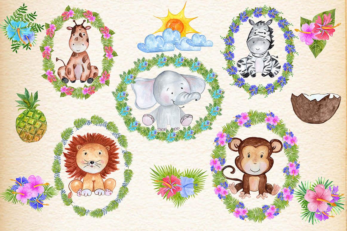 Safari Animals. Watercolor bundle example image 2