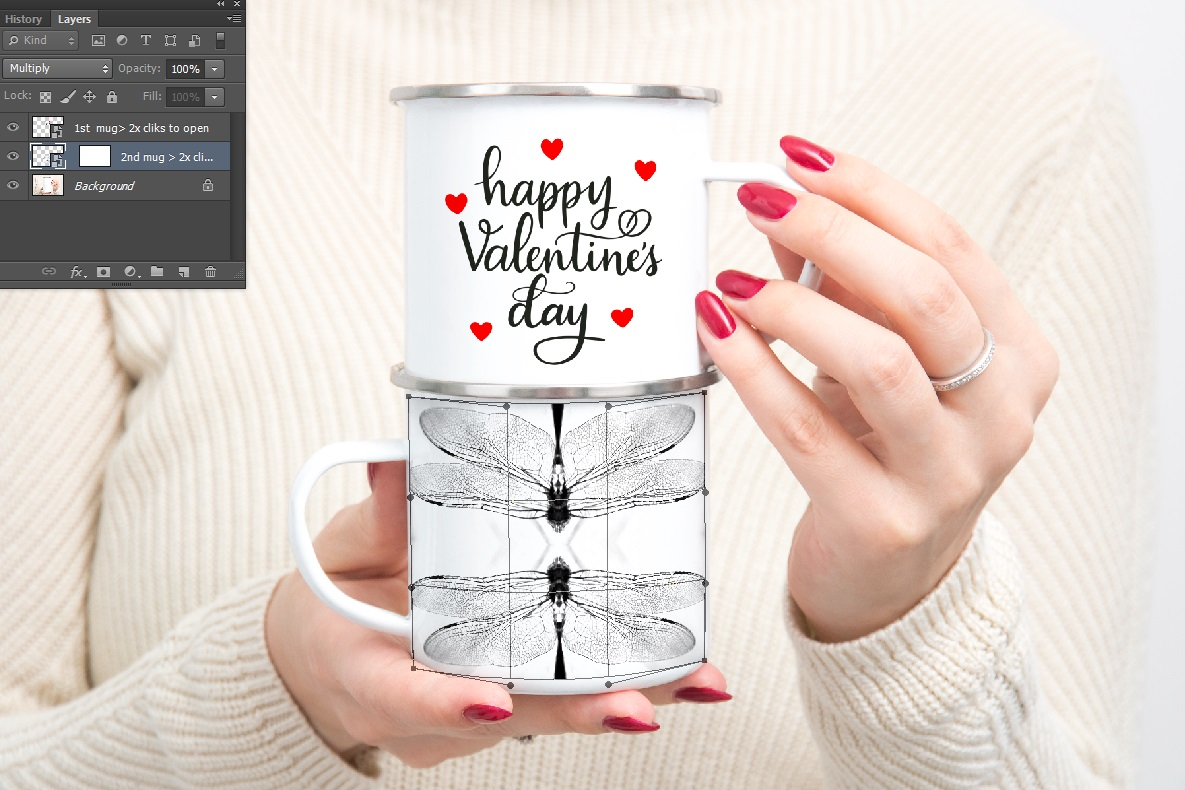 Enamel mug mockup woman holding two Camp sublimation mugs example image 6
