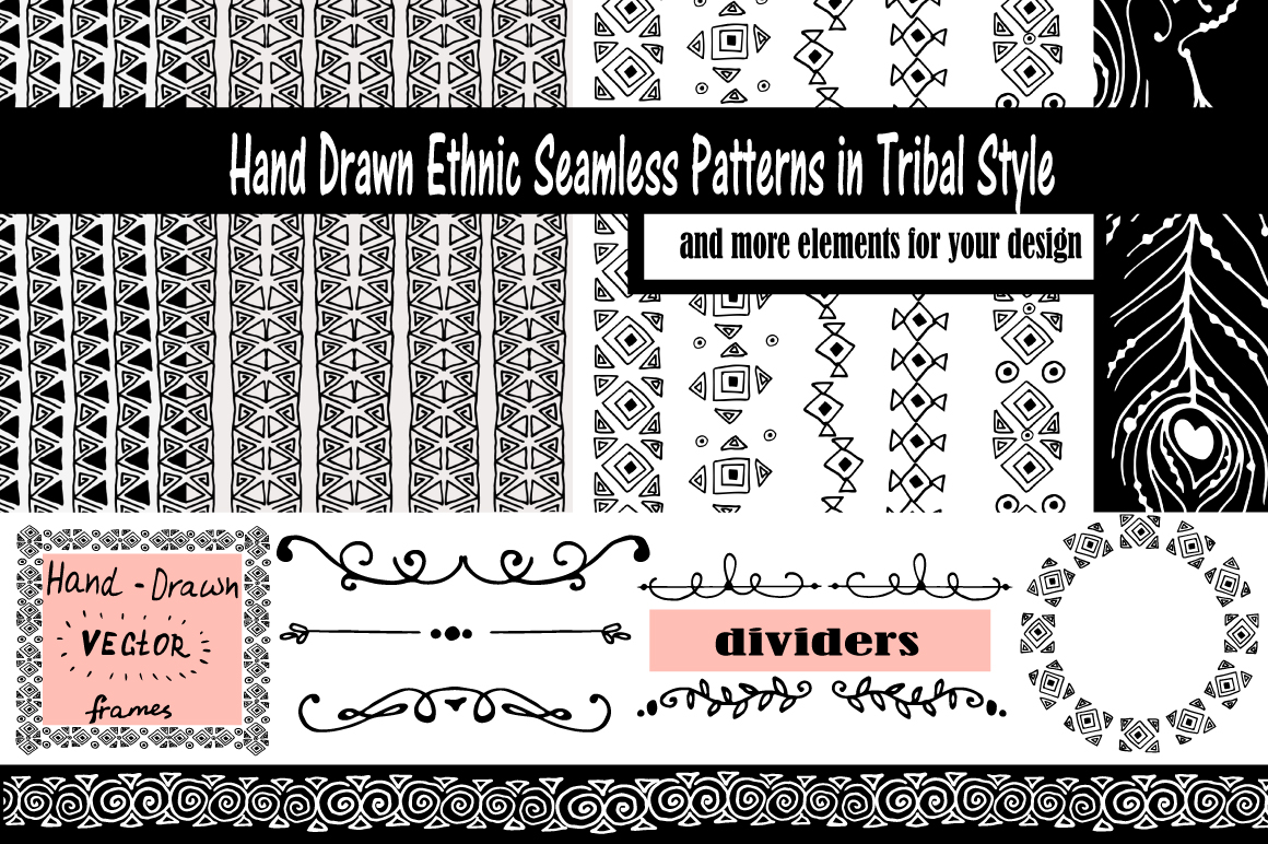 Hand-Drawn Ethnic Seamless Patterns example image 1