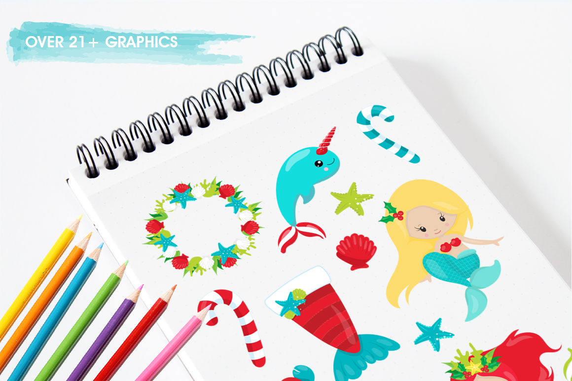 Mermaid Christmas graphic and illustrations example image 3