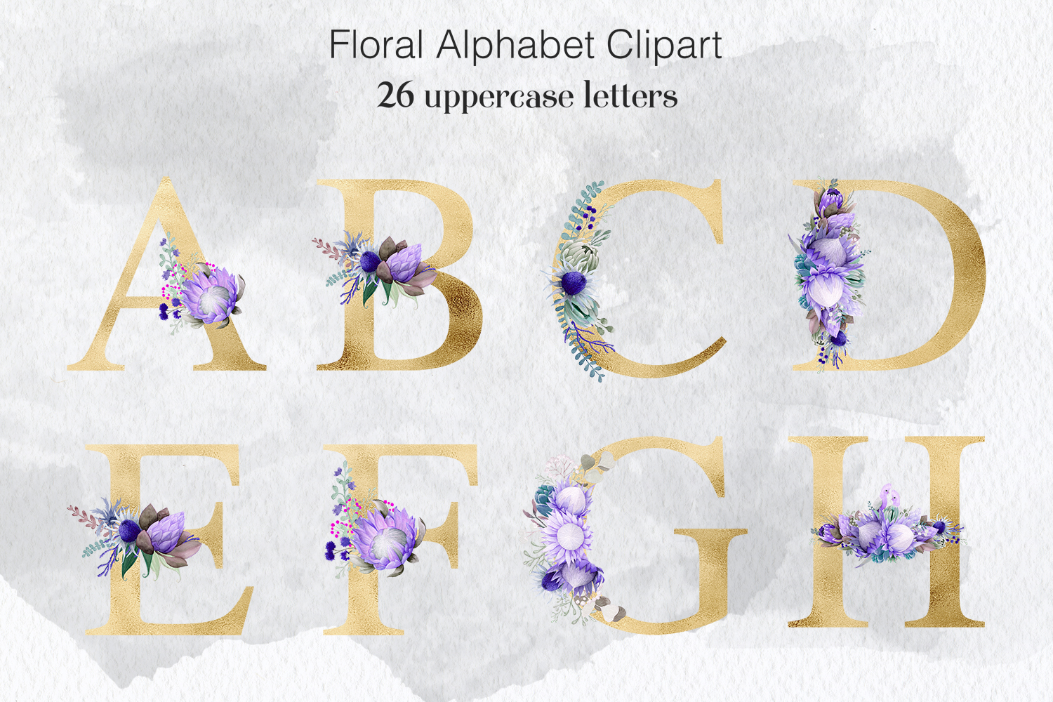Flower Letters - Watercolor & Gold example image 1