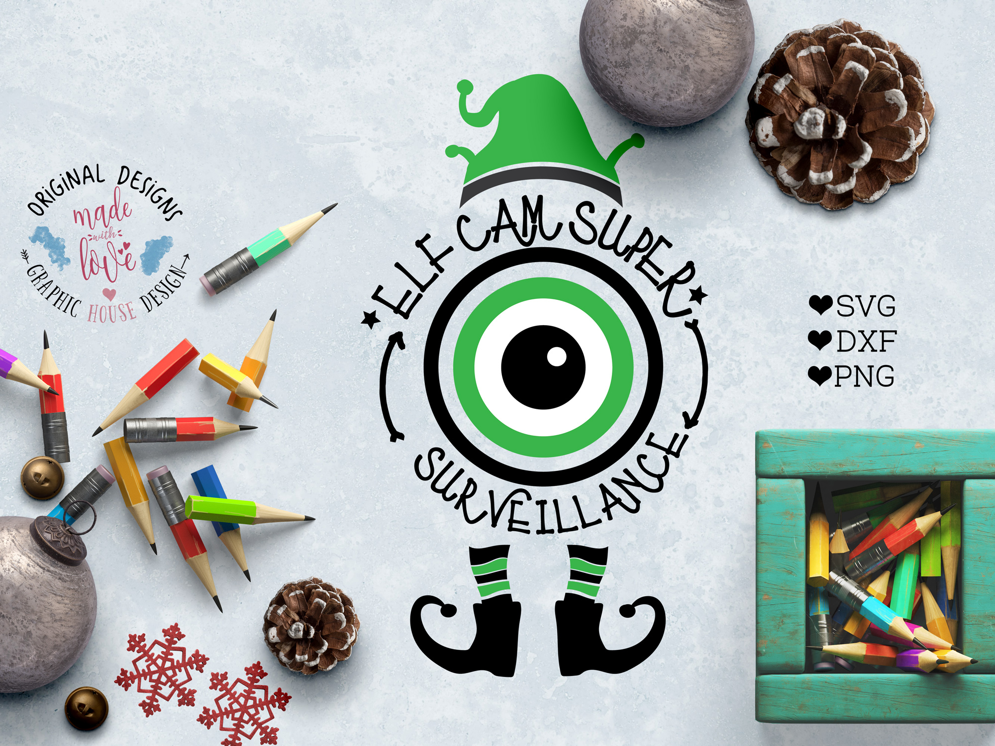 Elf's Cam Surveillance - Christmas Cut File example image 1