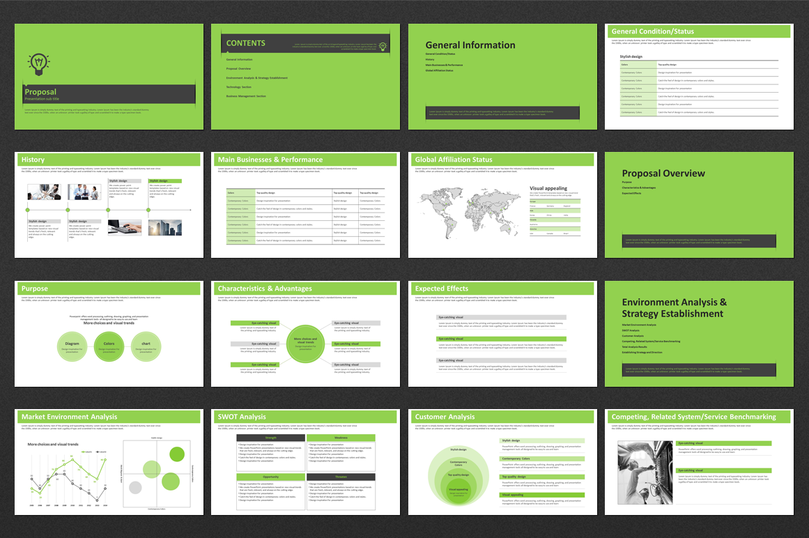Green PowerPoint Template Strategy example image 2
