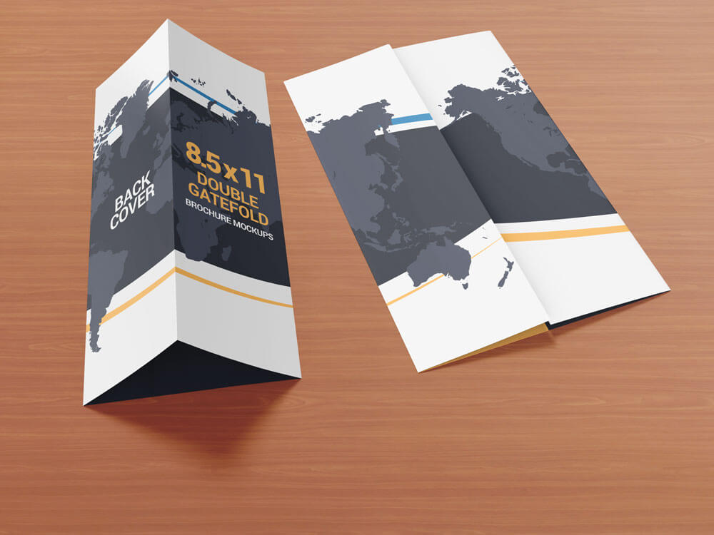 8.5 x 11 Double Gate Fold Brochure Mockups example image 5
