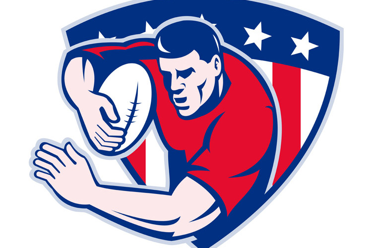 American rugby player fending with shield example image 1