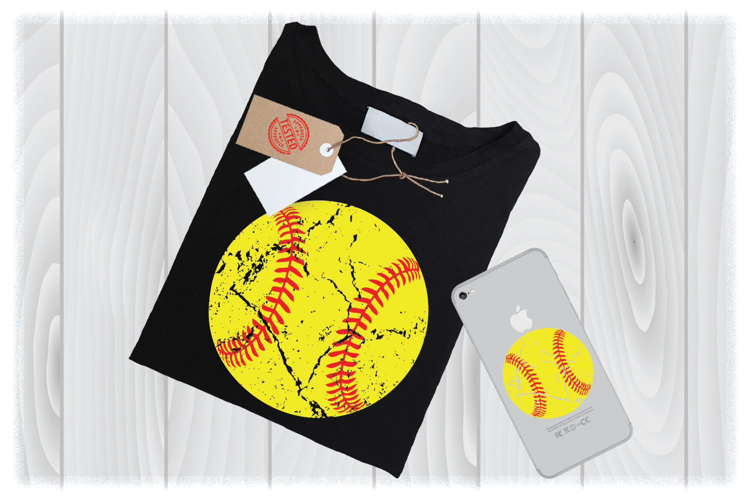Softball SVG Files, Distressed SVG, SVG Distressed Softball example image 1