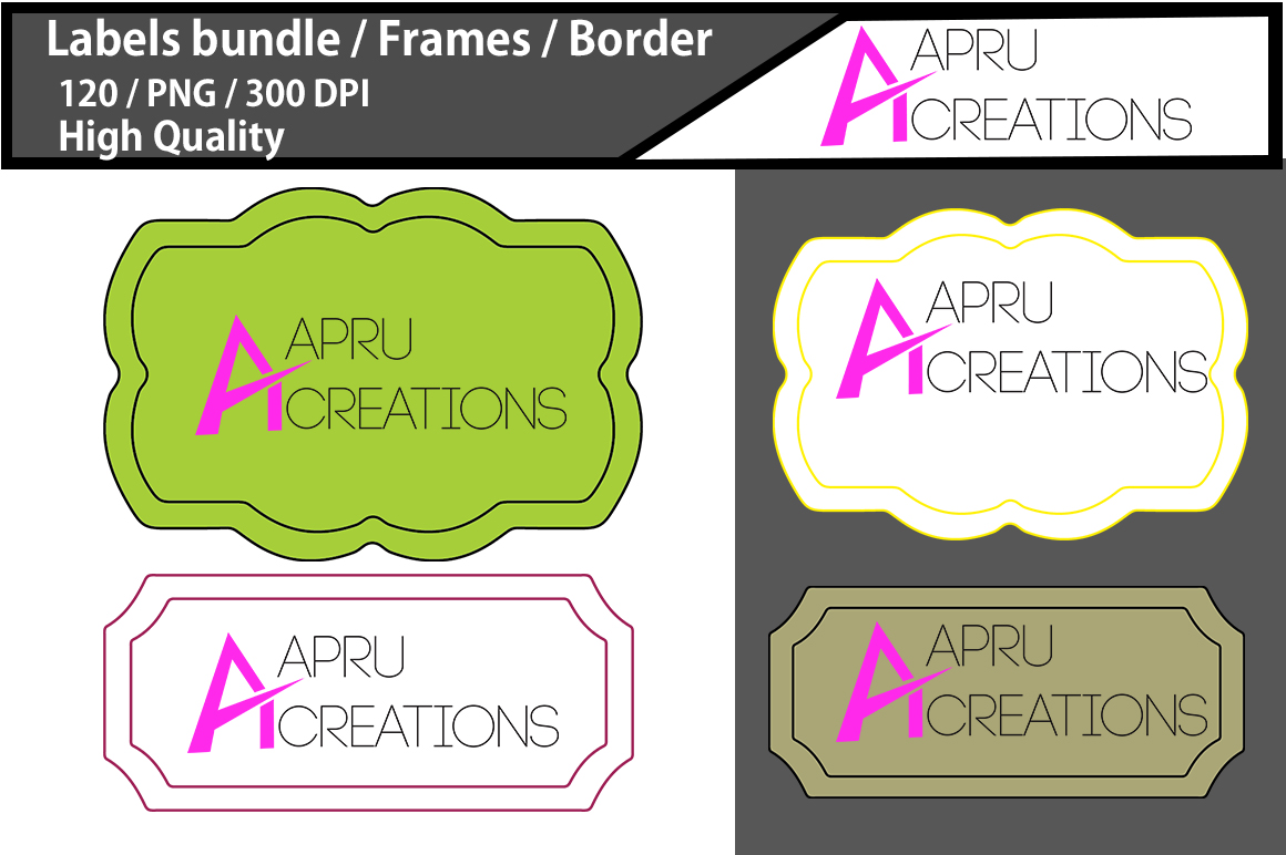 Label bundle / label high quality 120 / frames / borders / printable high quality designs / hand drawn frames / commercial use example image 2