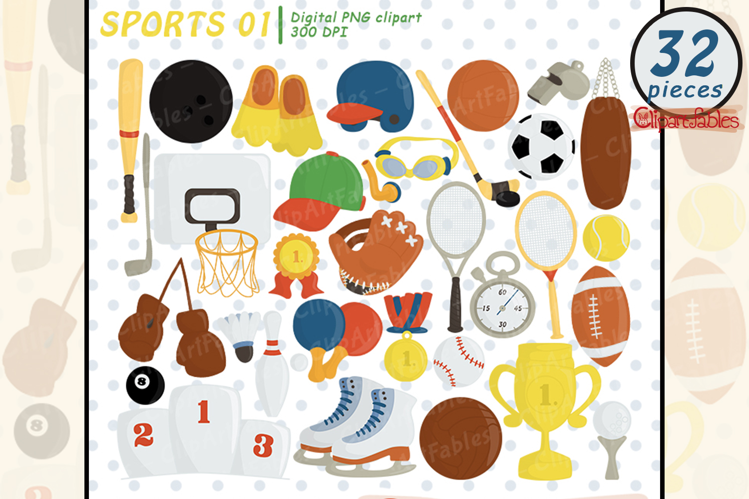 Sport clipart, Ball clip art, Sport birthday decor example image 1