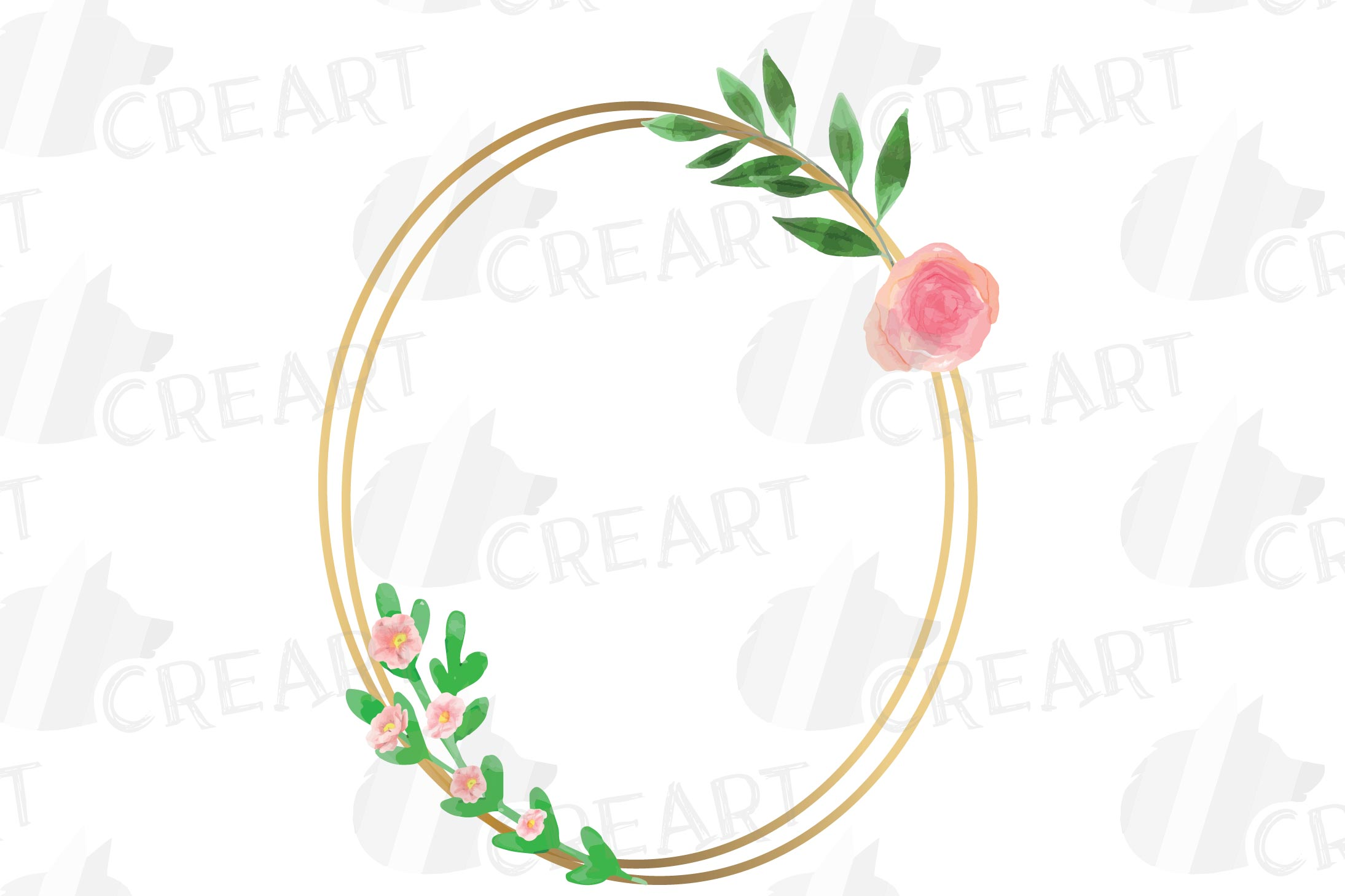 Golden Floral Frames Clip Art. Wedding geometric borders png example image 12