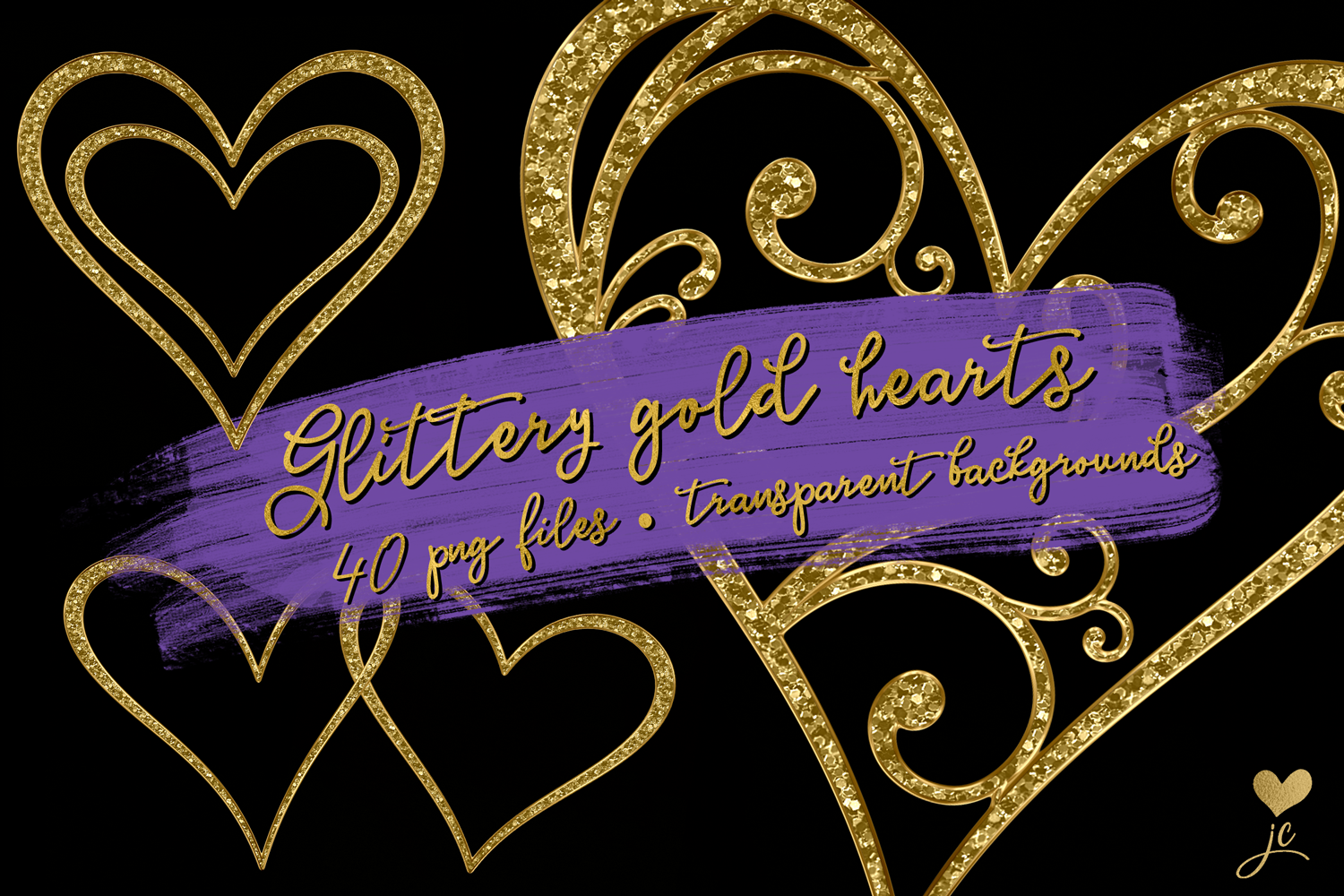 Glittery Gold Hearts example image 1