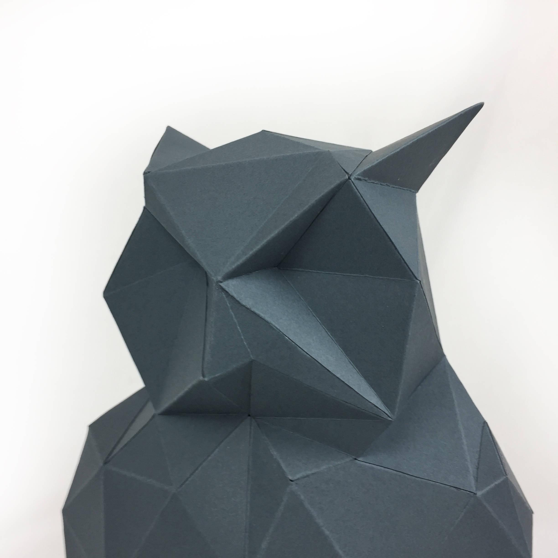 Night Owl, Papercraft Owl, Paper Owl, Animal Trophy, Loft Decor, Home Decor, 3D papercraft model, animal head, lowpoly DIY, hobby idea, DIY example image 7