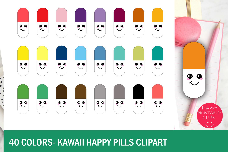 40 Colors Kawaii Happy Pills Clipart example image 2