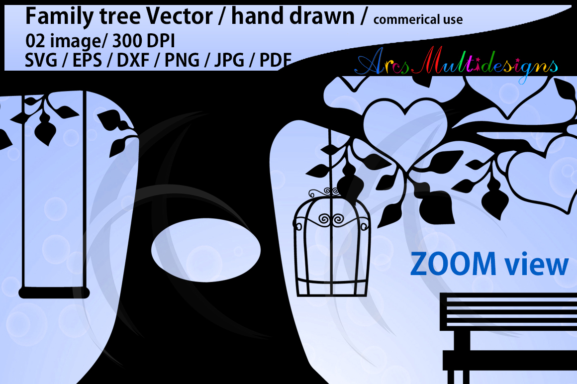 family tree clipart SVG, EPS, Dxf, Png, Pdf, Jpg / family tree silhouette / hand drawn family tree svg / vector / Commerical & personal use example image 2
