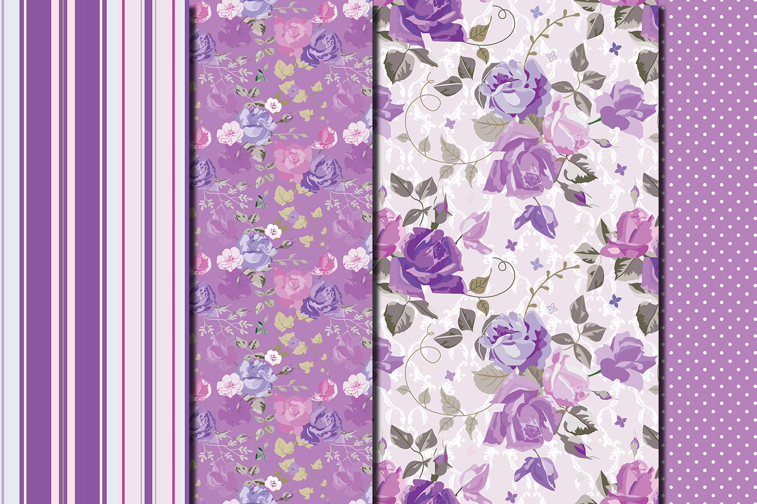 Shabby chic violet roses seamless digital paper pack example image 5