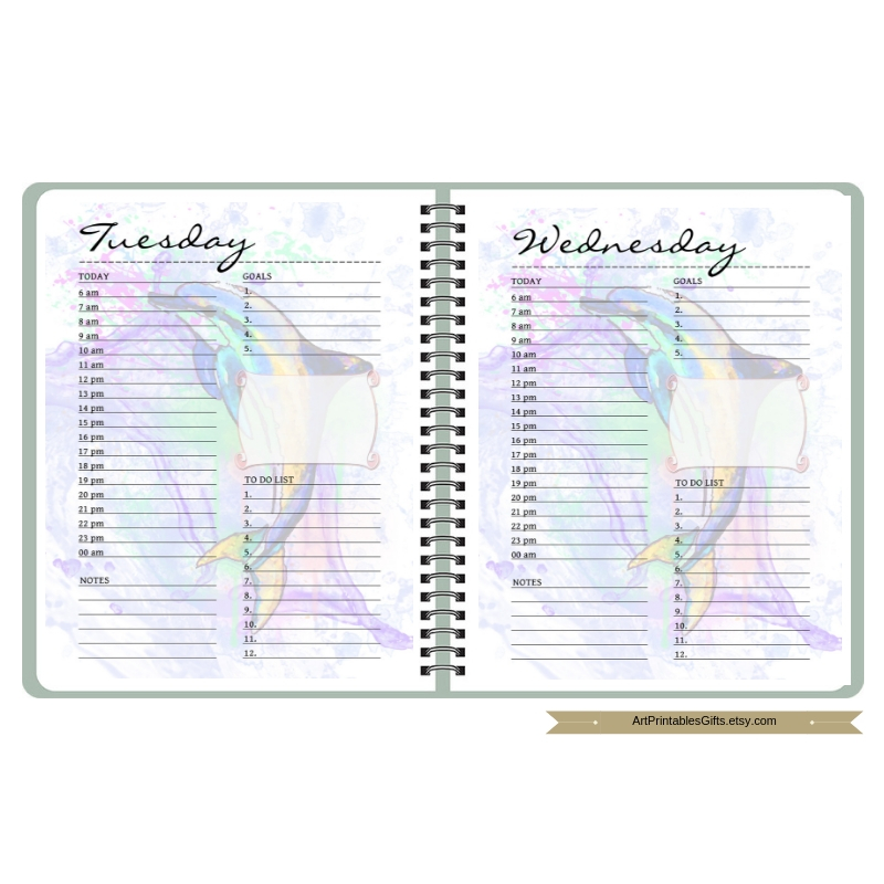 Daily Planner with dolphin, Day on 1 Page, Letter size example image 3