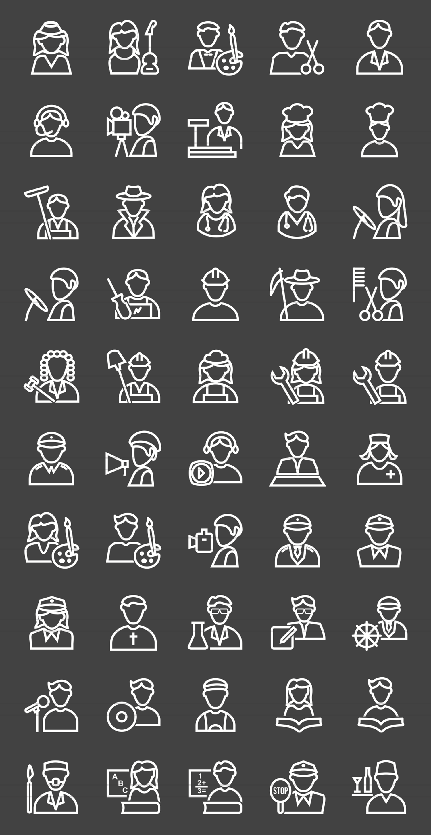 50 Professionals Line Inverted Icons example image 2