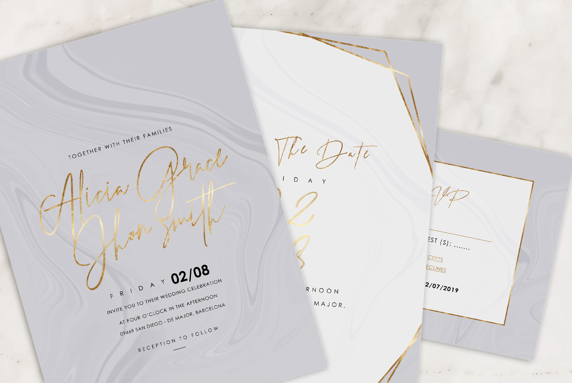 Marble Wedding Invitation - 6 Collections example image 5