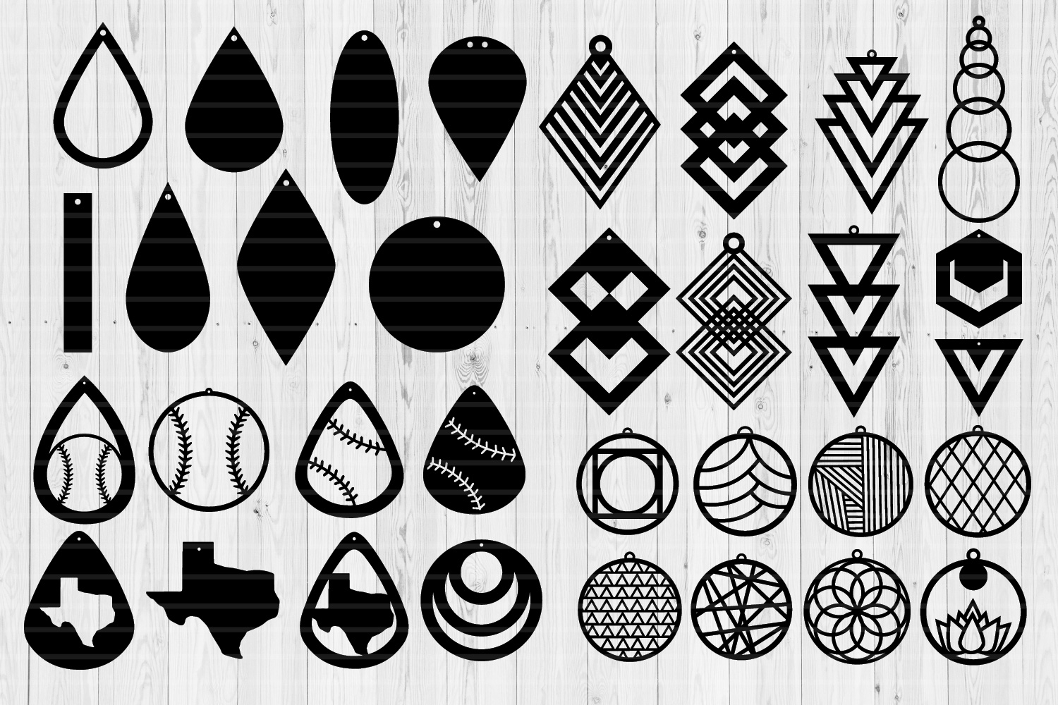 Earrings Templates Humble Bundle | SVG Cut Files | example image 4