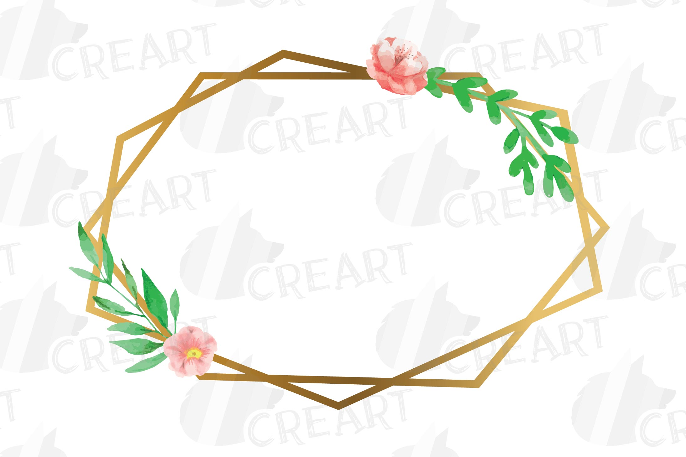 Golden Floral Frames Clip Art. Wedding geometric borders png example image 13