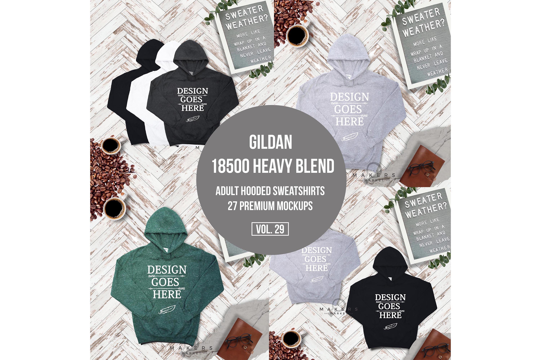 Hoodie Mock-up, Gildan 18500 Sweaters/ Hooded Sweater example image 6