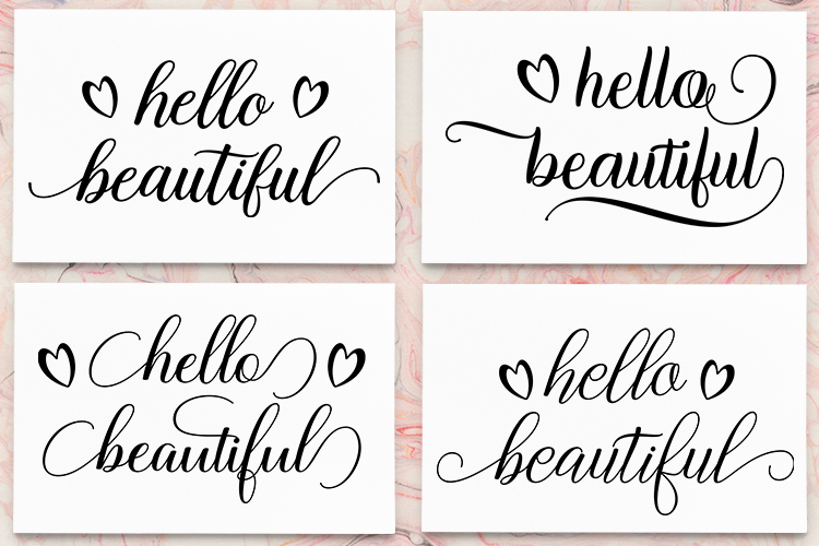 Hello Beautiful - SVG PNG EPS DXF example image 1