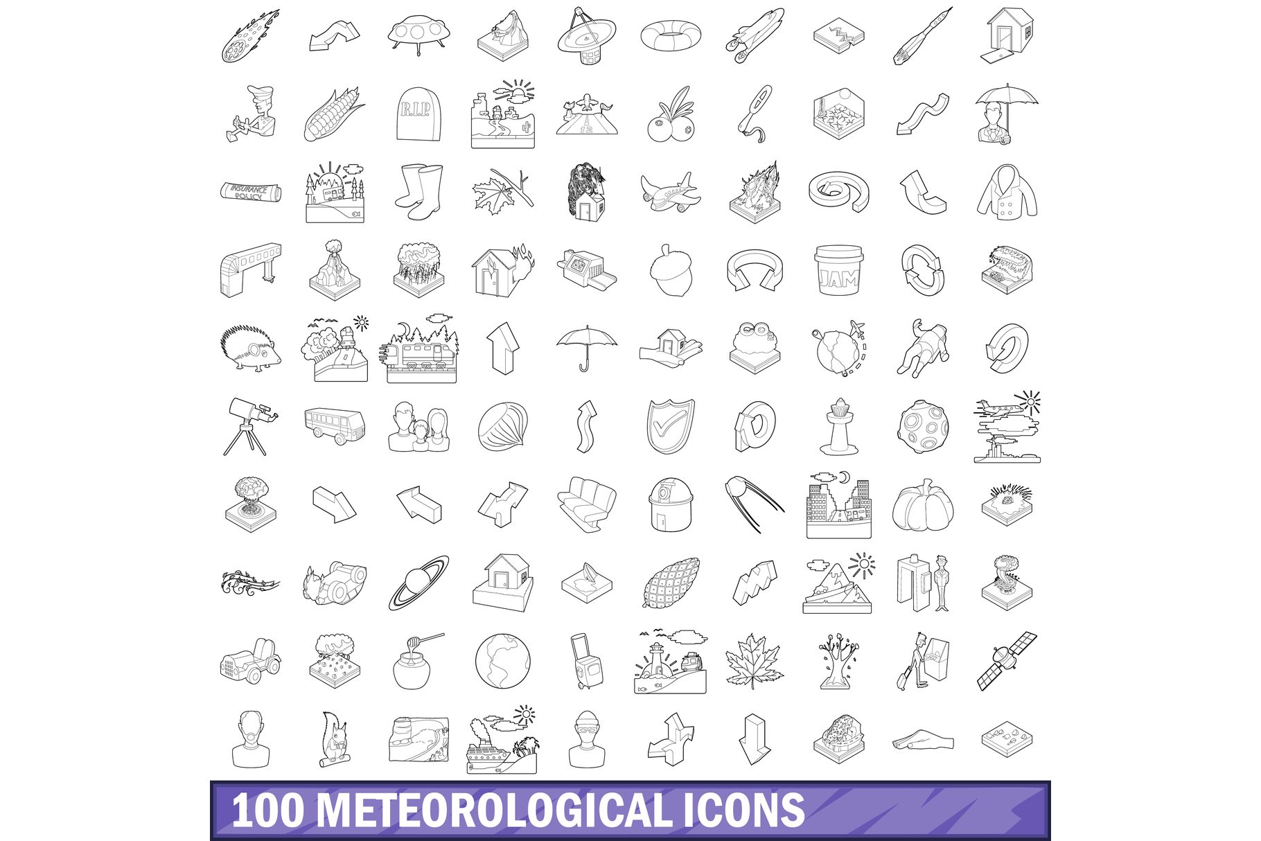 100 meteorological icons set, outline style example image 1