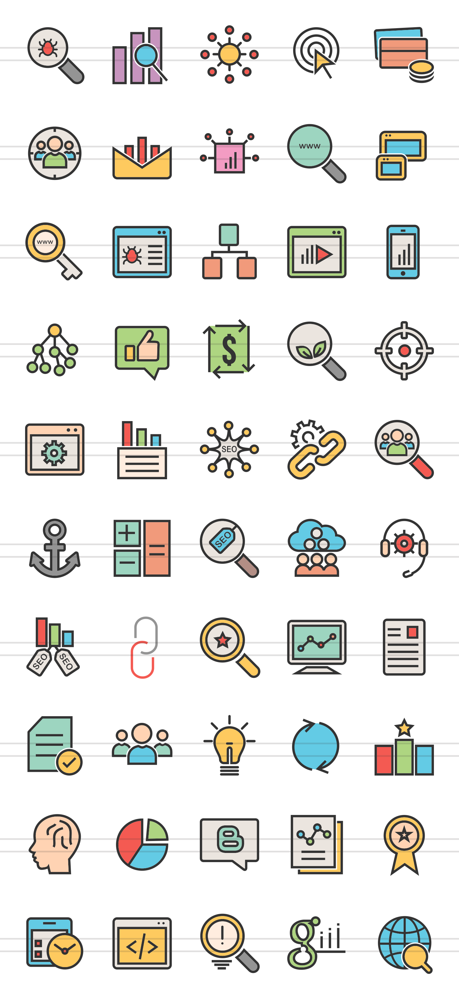 50 SEO Linear Multicolor Icons example image 2