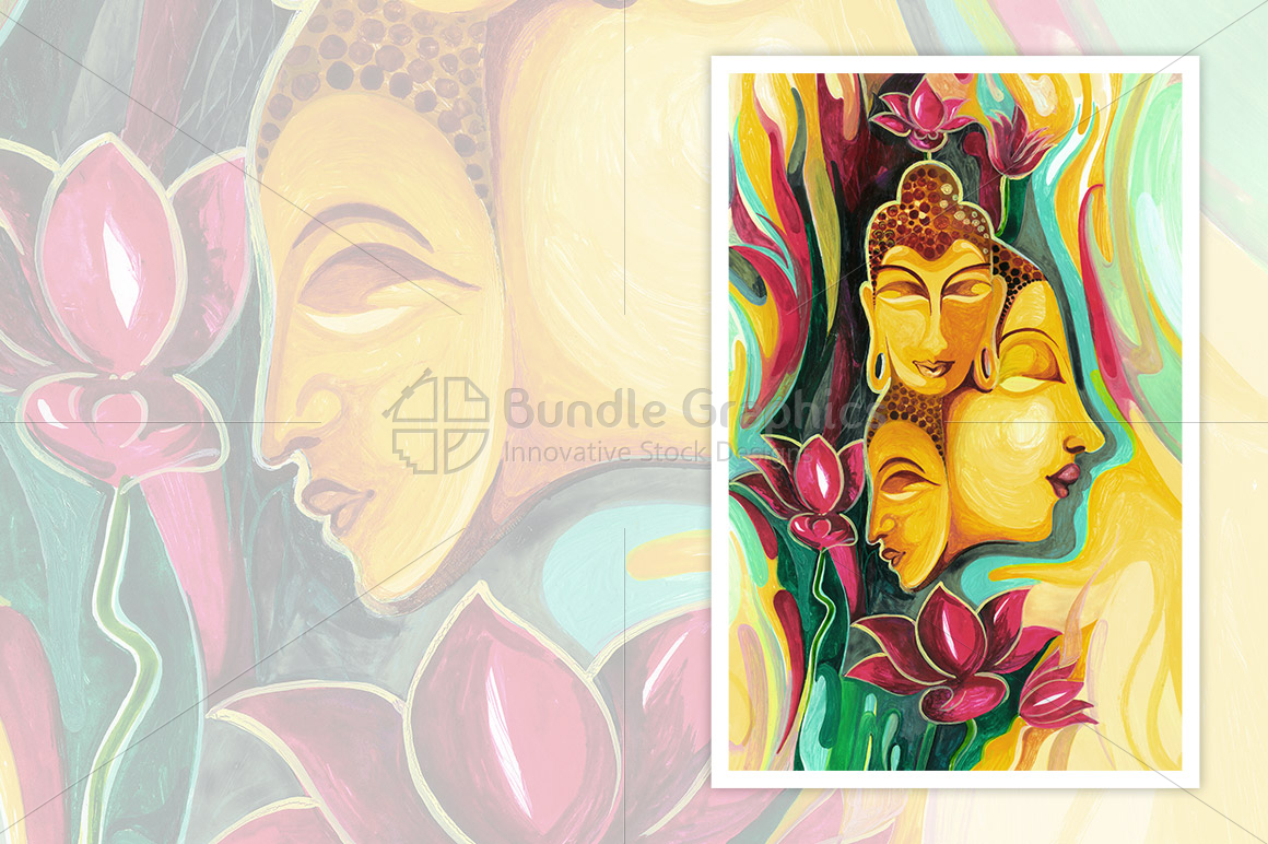 Lord Budha - Abstract Painting example image 1