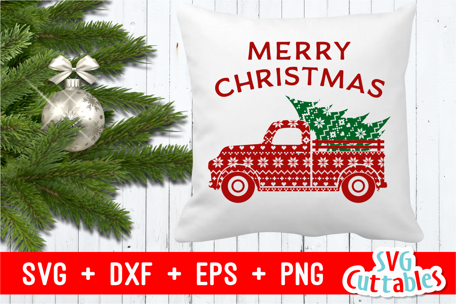 Merry Christmas Truck | Christmas Cut File example image 3
