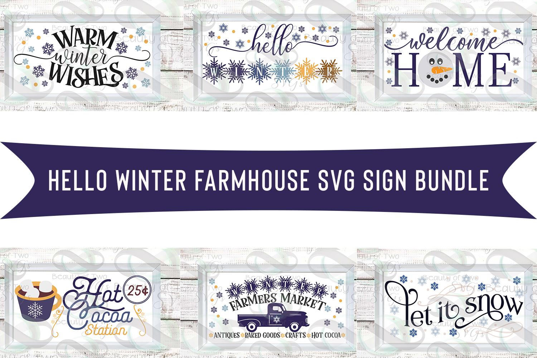 Farmhouse Hello Winter svg Sign Design bundle, 6 svg designs example image 1