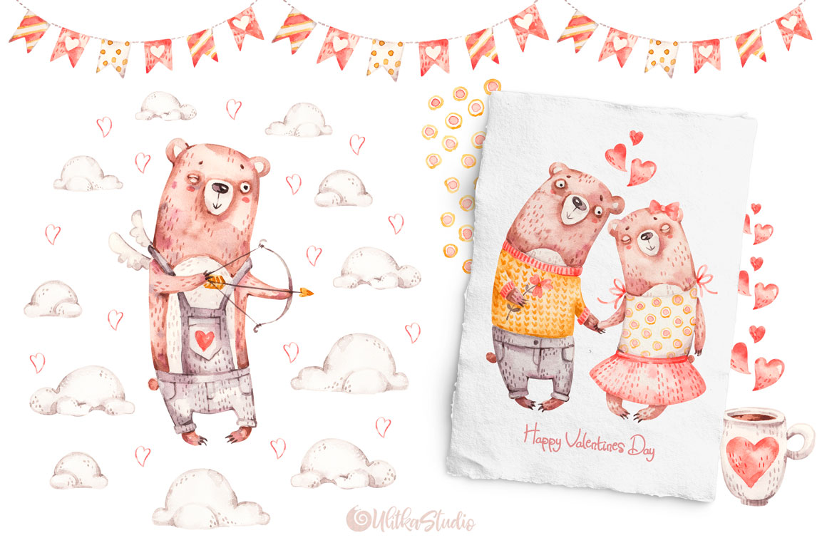 Cozy Valentines Day. Lovely bears watercolor collection example image 13