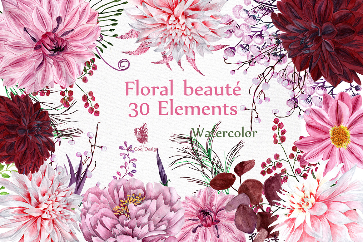 Watercolor flowers clipart example image 1