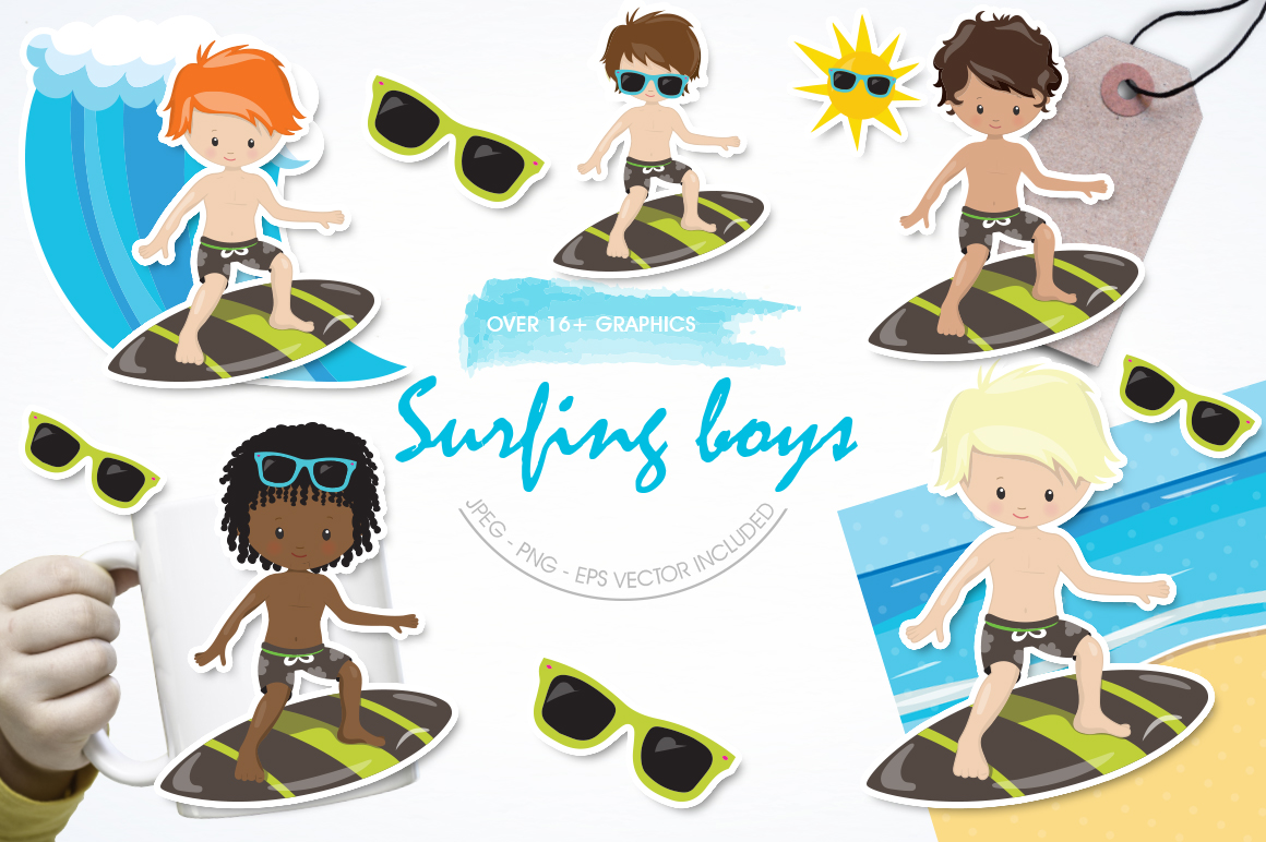 Surfing Boys graphic and illustrations example image 1