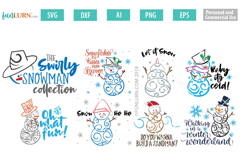 Swirly Snowman Bundle SVG example image 1