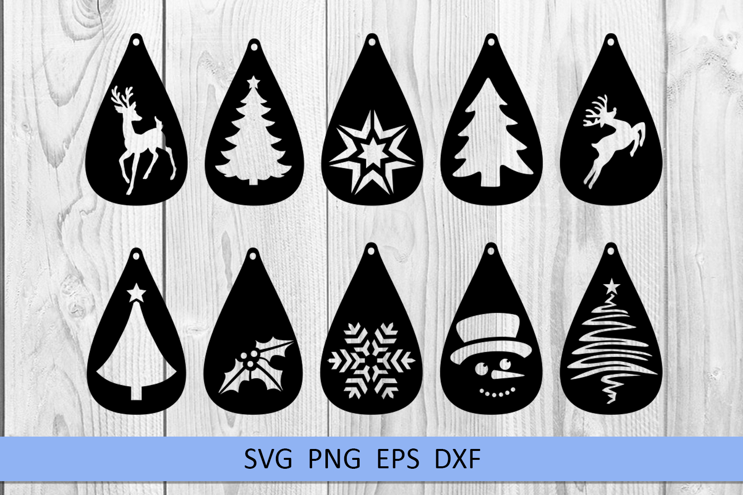 10 Christmas earrings svg Leather earrings svg Necklace svg example image 2