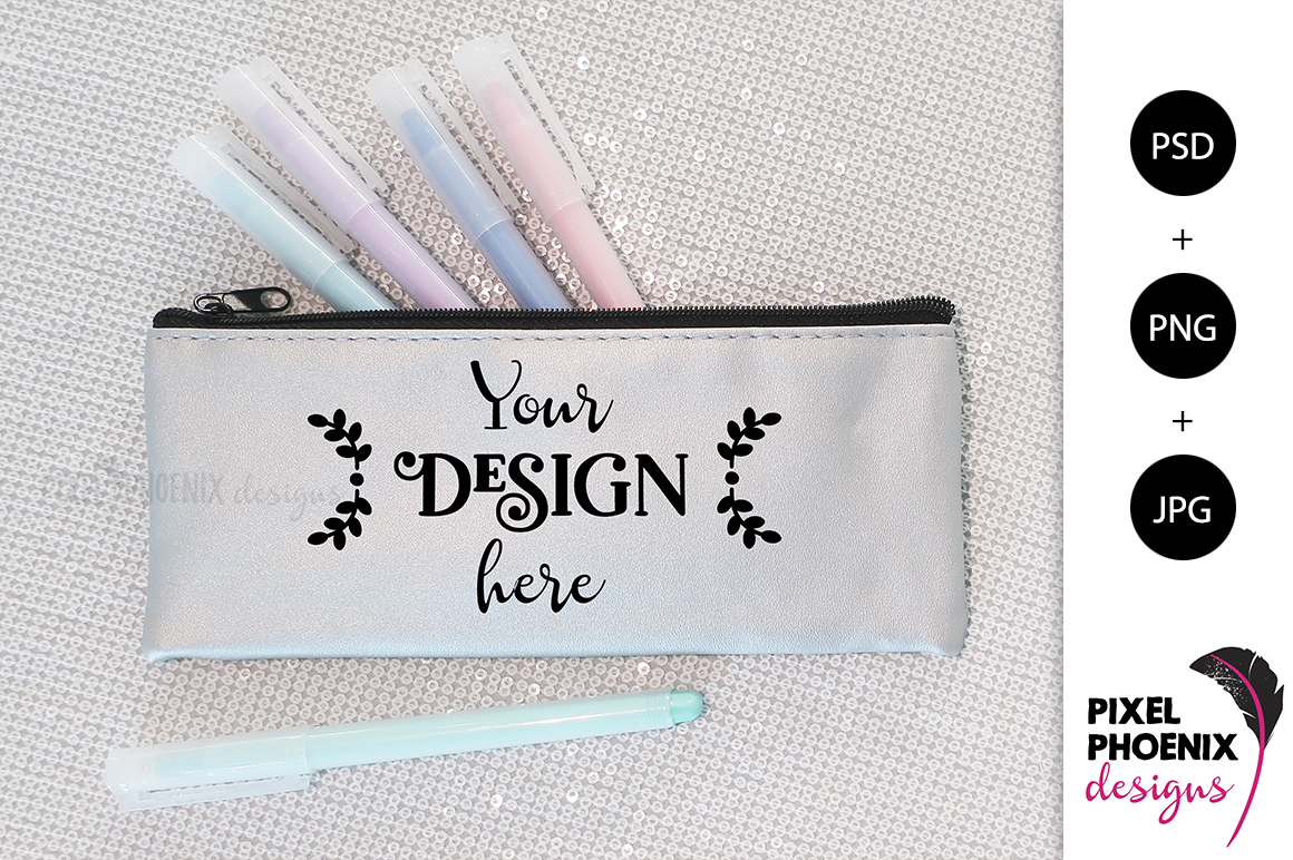 Pencil Case Mockup with pastel pens example image 2