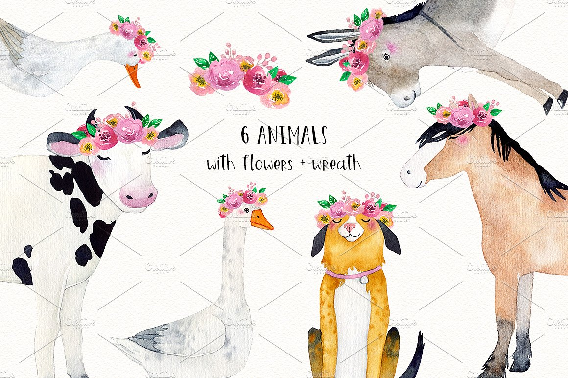 FARM ANIMALS watercolor set PART 2 example image 5