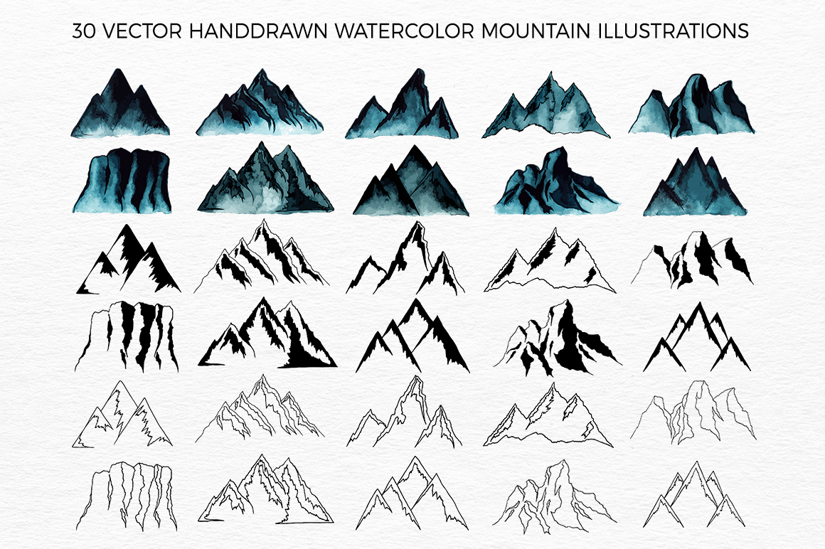Mountains HandDrawn Vector example image 2