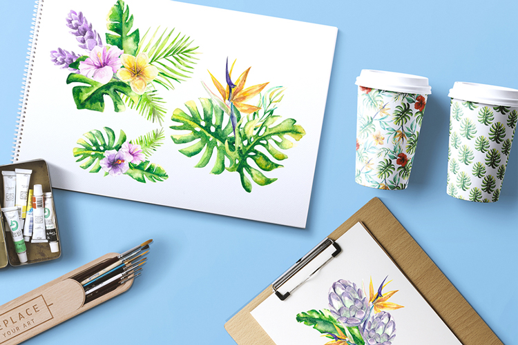 Tropical Floral Watercolor Collection example image 8