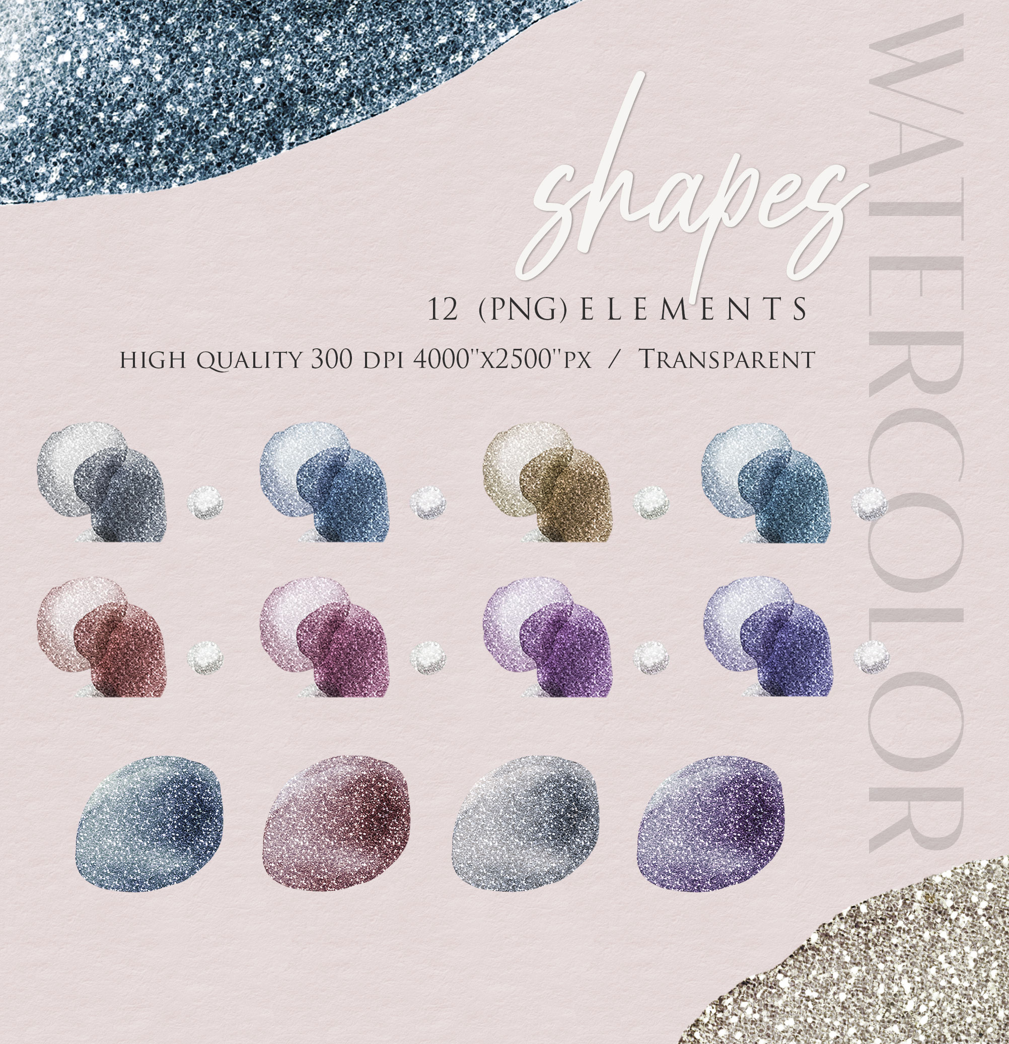 Ink & Watercolor Glitter Overlays - 12 Png Elements example image 2
